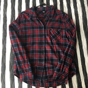 Paige Denim Red Black Blue Plaid Flannel Shirt M